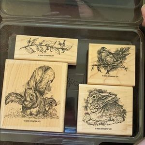 """2005 Stampin' Up! """"Forest Friends"""" 4 pc set"""